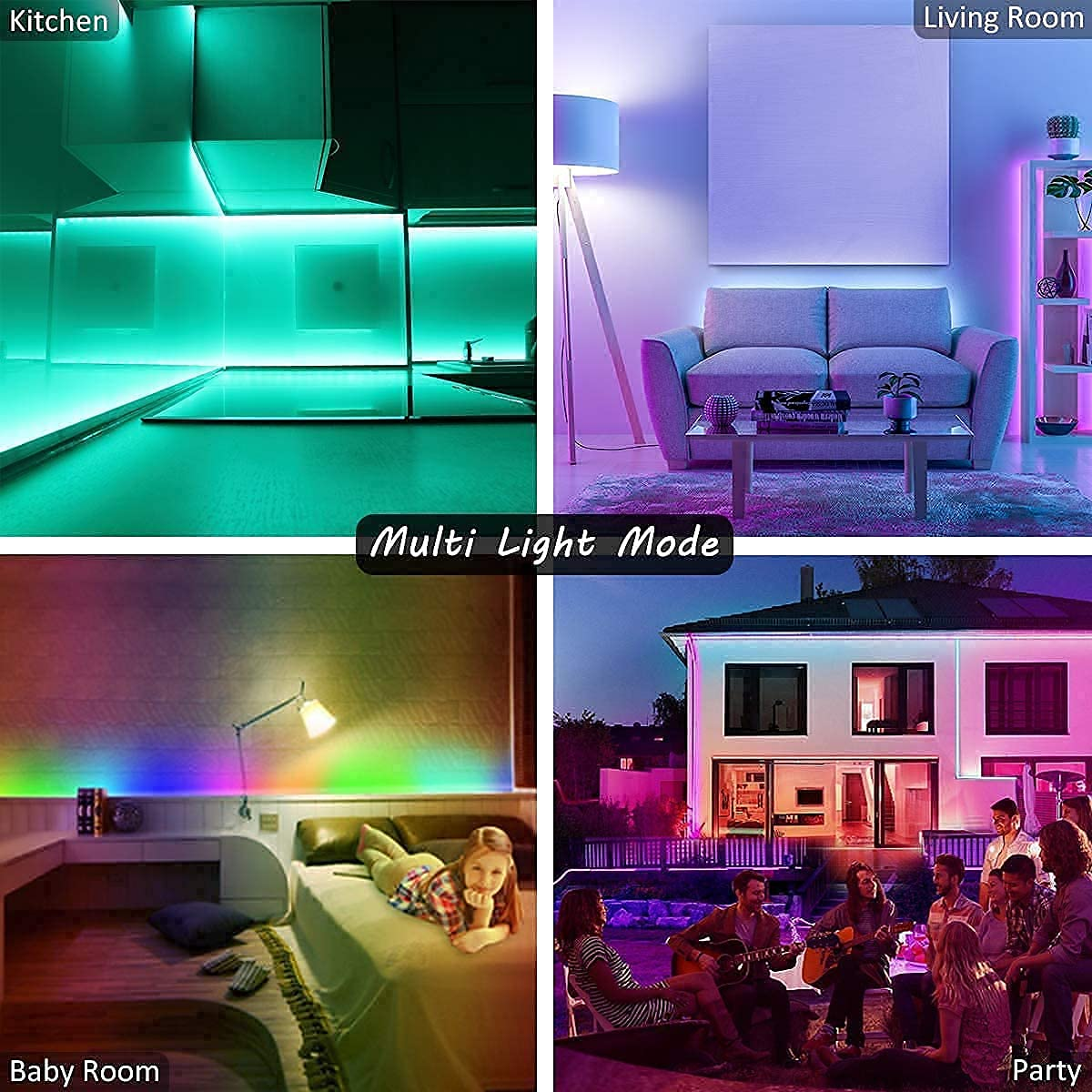 Led Lights, L8star 15m Smart Led Light 5050 Colorful RGB Led Strips Lights for Bedroom with Bluetooth and Remote Control Sync to Music Apply for Home Decoration